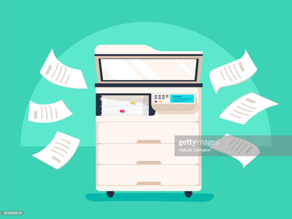 Office multifunction printer scanner. Copier with flying paper isolated on background. Copy machine