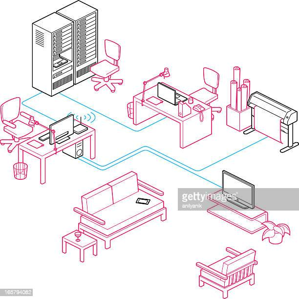 office network - telephone line stock illustrations, clip art, cartoons, & icons