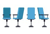 Office or desk chair in various points of view. Armchair or stool in front, back, side angles. Corporate castor furniture flat icon design. Vector illustration.