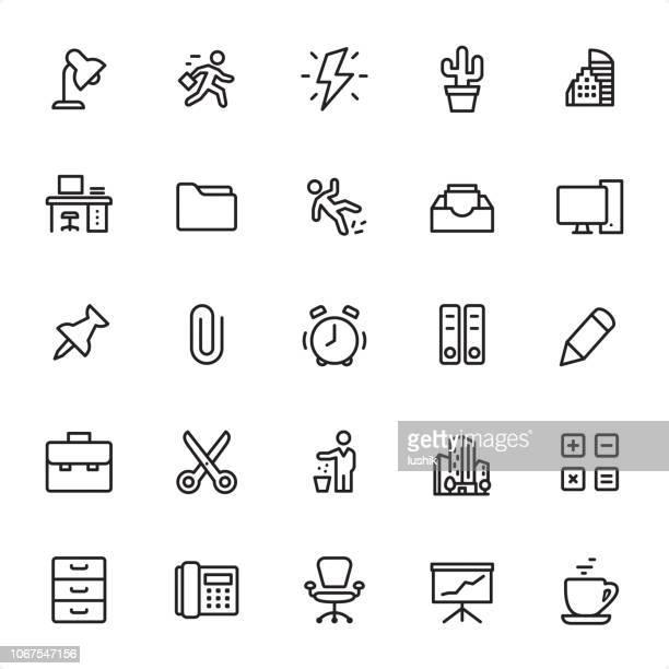 ilustraciones, imágenes clip art, dibujos animados e iconos de stock de oficina - conjunto de iconos de contorno - lanzar actividad física