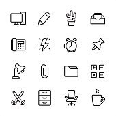 Office - outline style vector icons