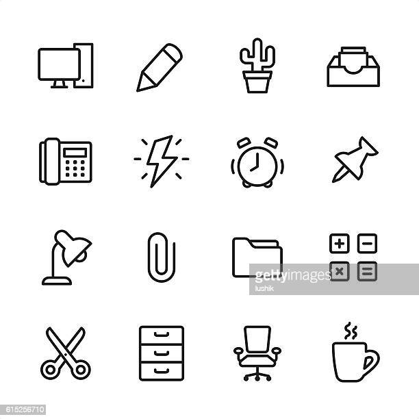 office - outline style vector icons - flash light stock illustrations, clip art, cartoons, & icons