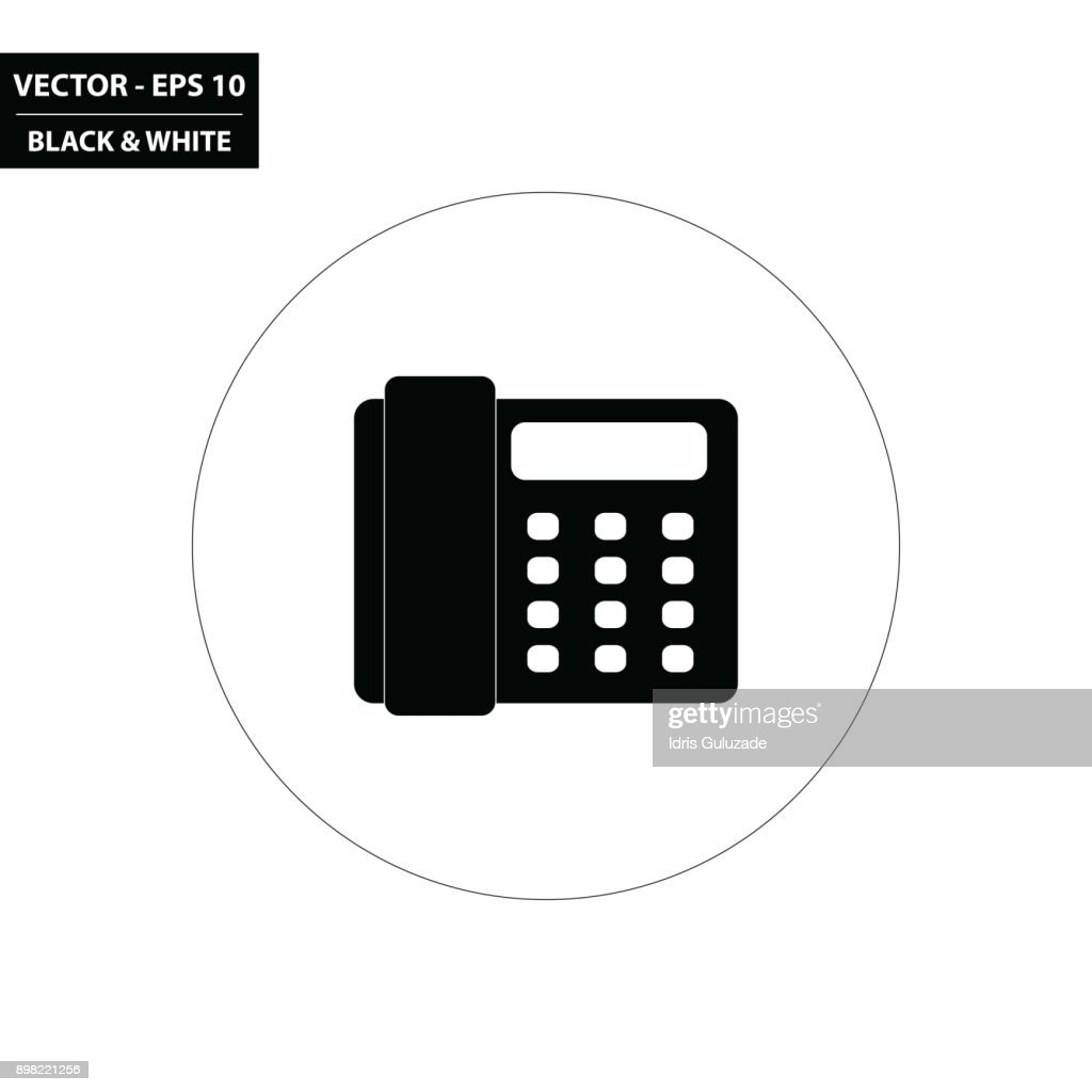 Office phone black and white flat icon