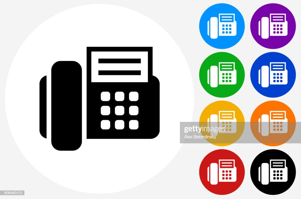 Office Phone Icon On Flat Color Circle Buttons Stock