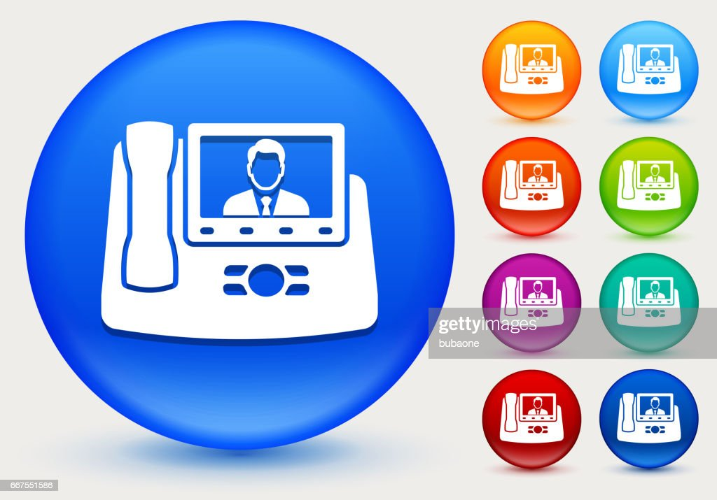 Office Phone Icon On Shiny Color Circle Buttons stock