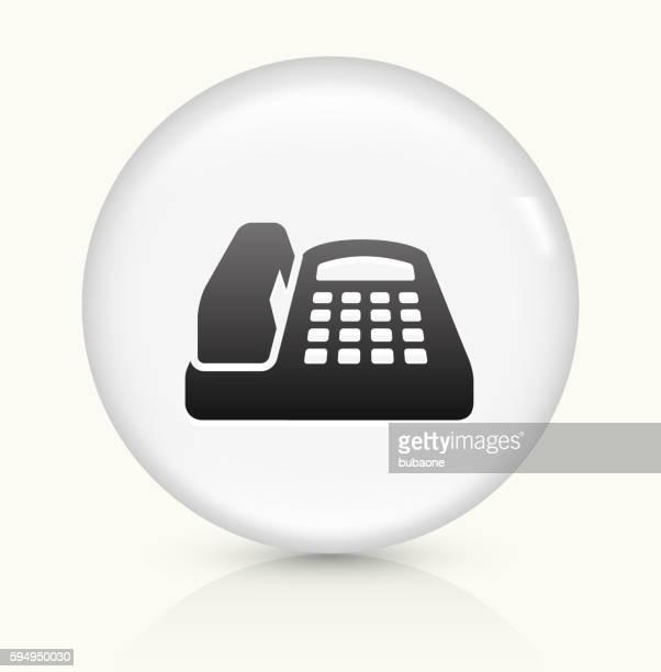 Büro Telefon Symbol auf einem weißen, runden Vektor-button
