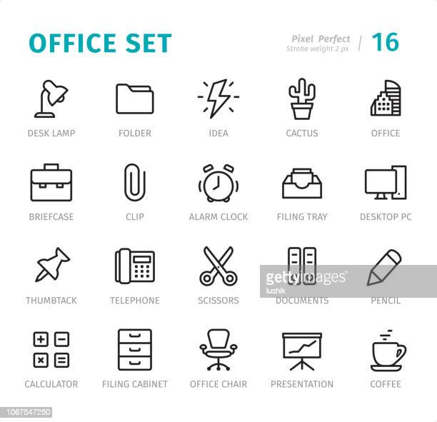 office - pixel perfect line icons with captions - scissors stock illustrations