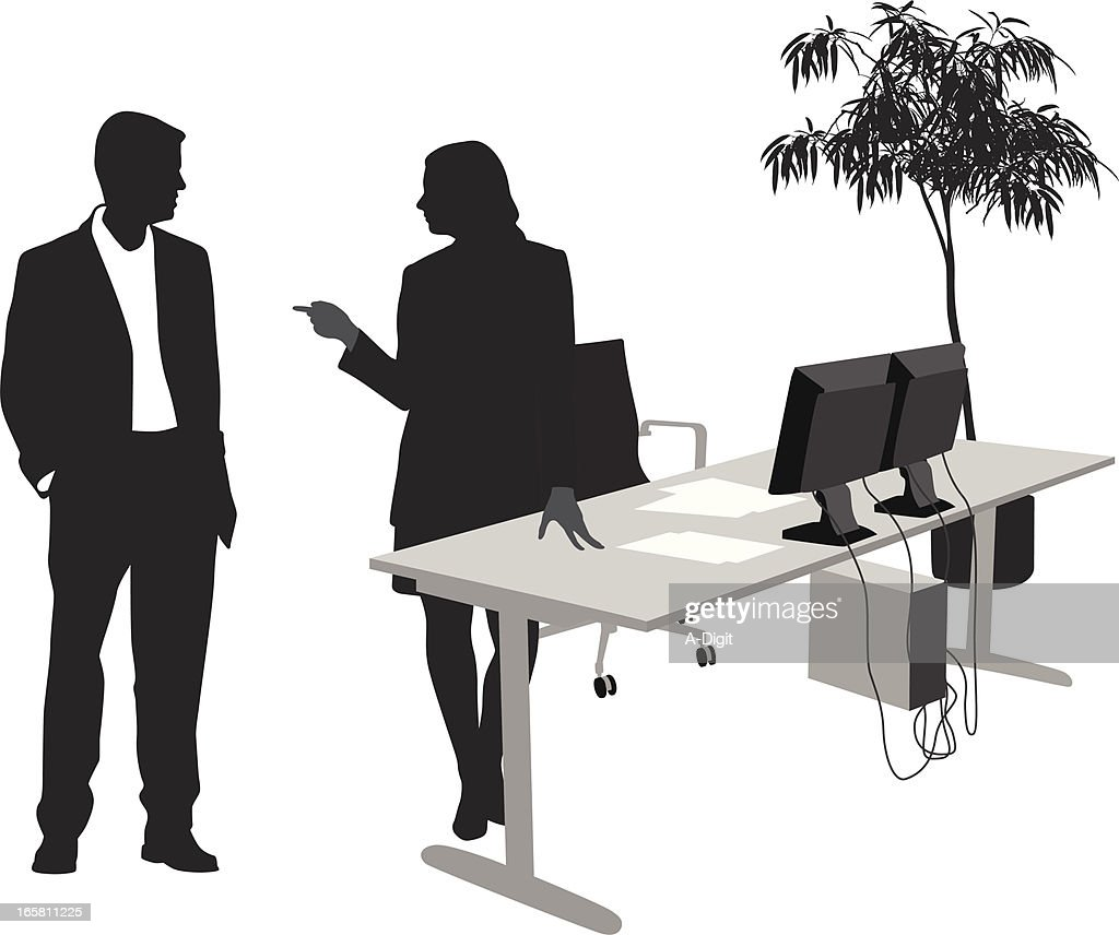 Office Politics Vector Silhouette : stock illustration