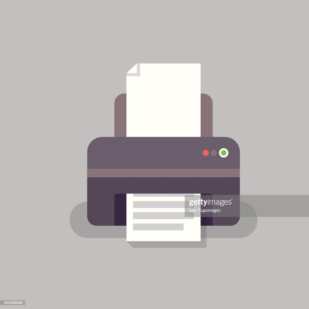 office printer vector in flat stile