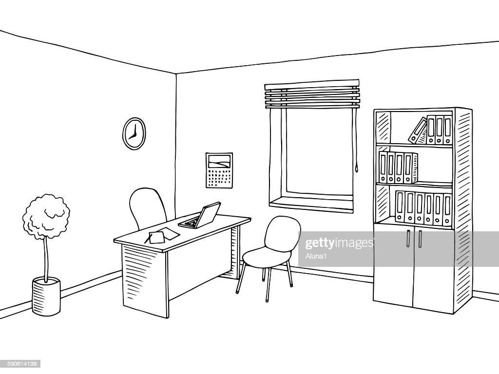 Office room interior graphic art black white sketch illustration vector