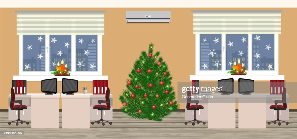 Office room interior in christmas design with two work spaces at evening before xmas. Holiday eve in company office.