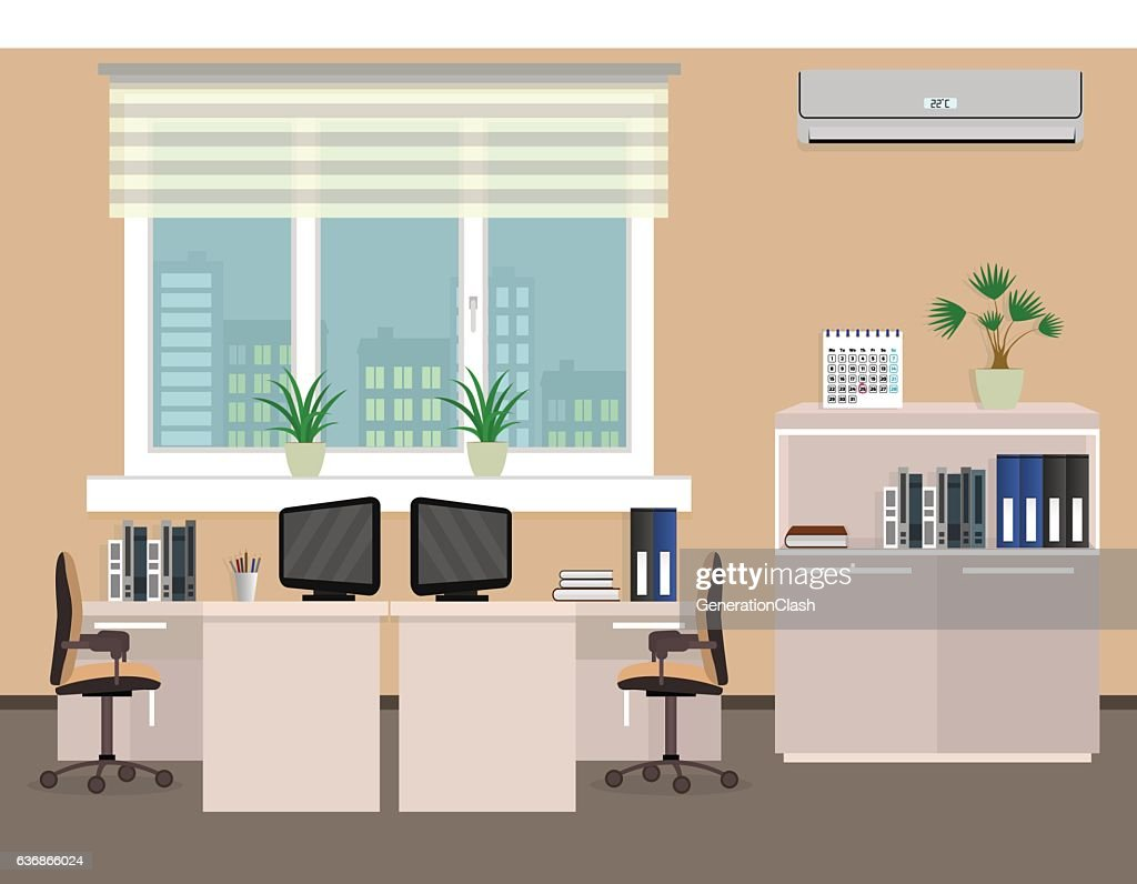 Office room interior including two work spaces with cityscape outside