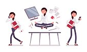 Office scene with busy and relaxed in yoga female clerk