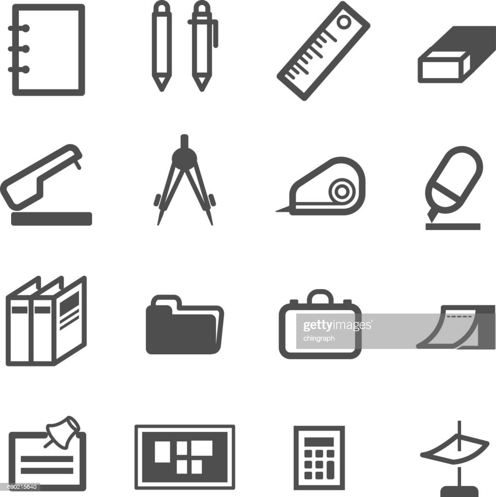 office school class object icon set vector