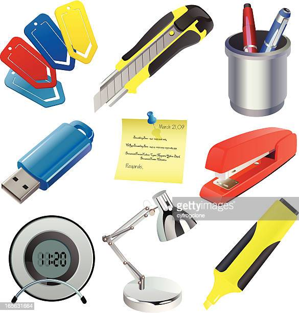 office set - desk organizer stock illustrations, clip art, cartoons, & icons