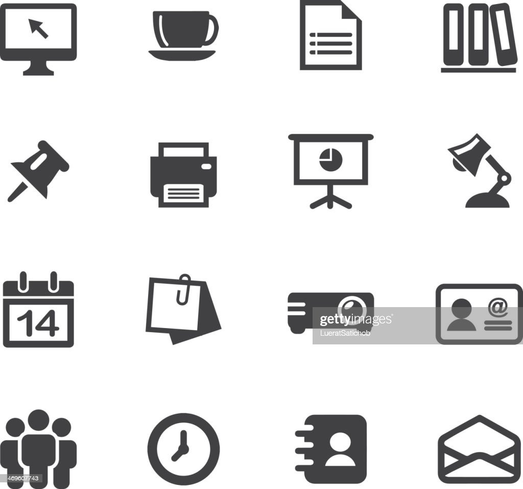 Office Silhouette Icons 1 : stock illustration