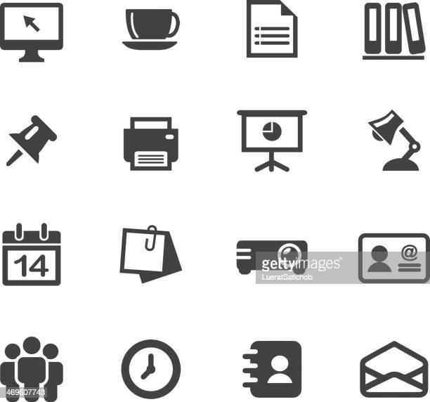 office silhouette icons 1 - printout stock illustrations