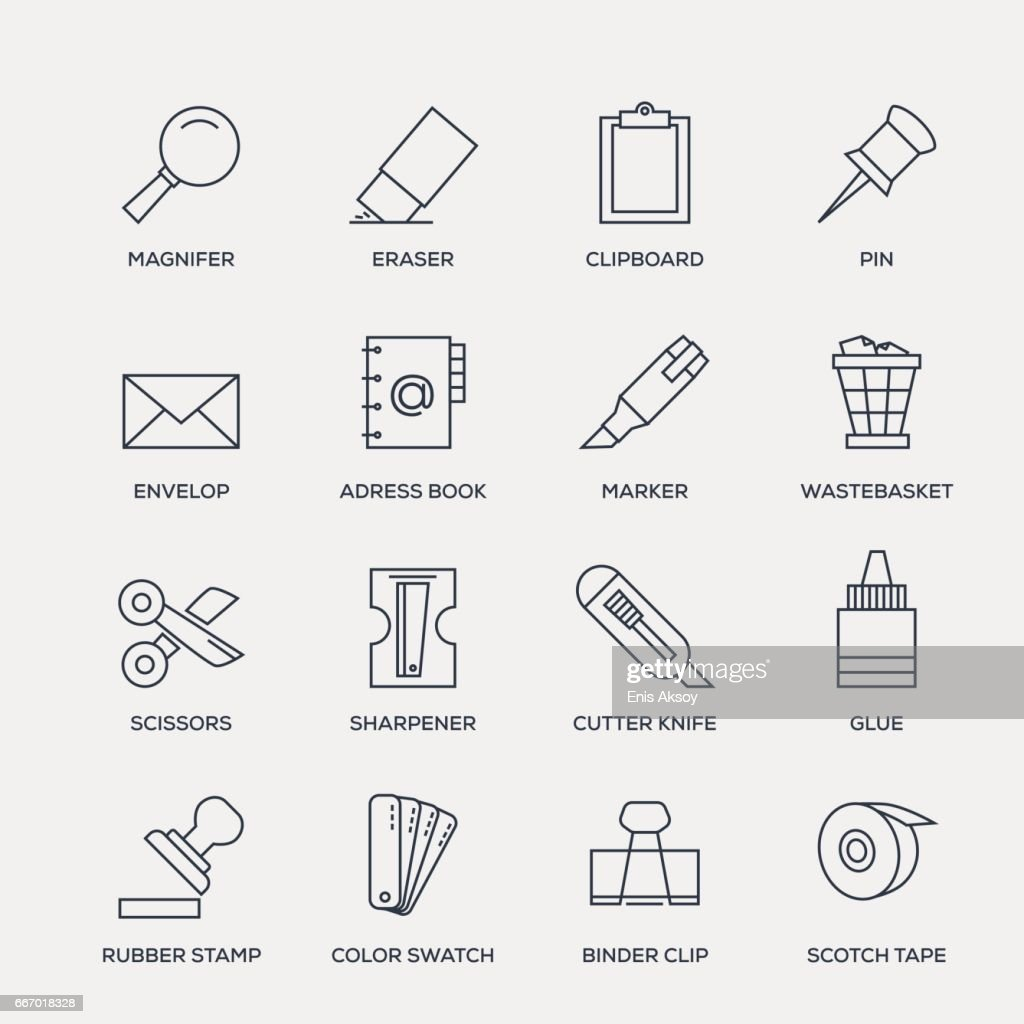 Office Stationery Icon Set - Line Series