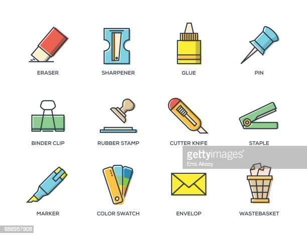 Office Stationery Line Icon Set
