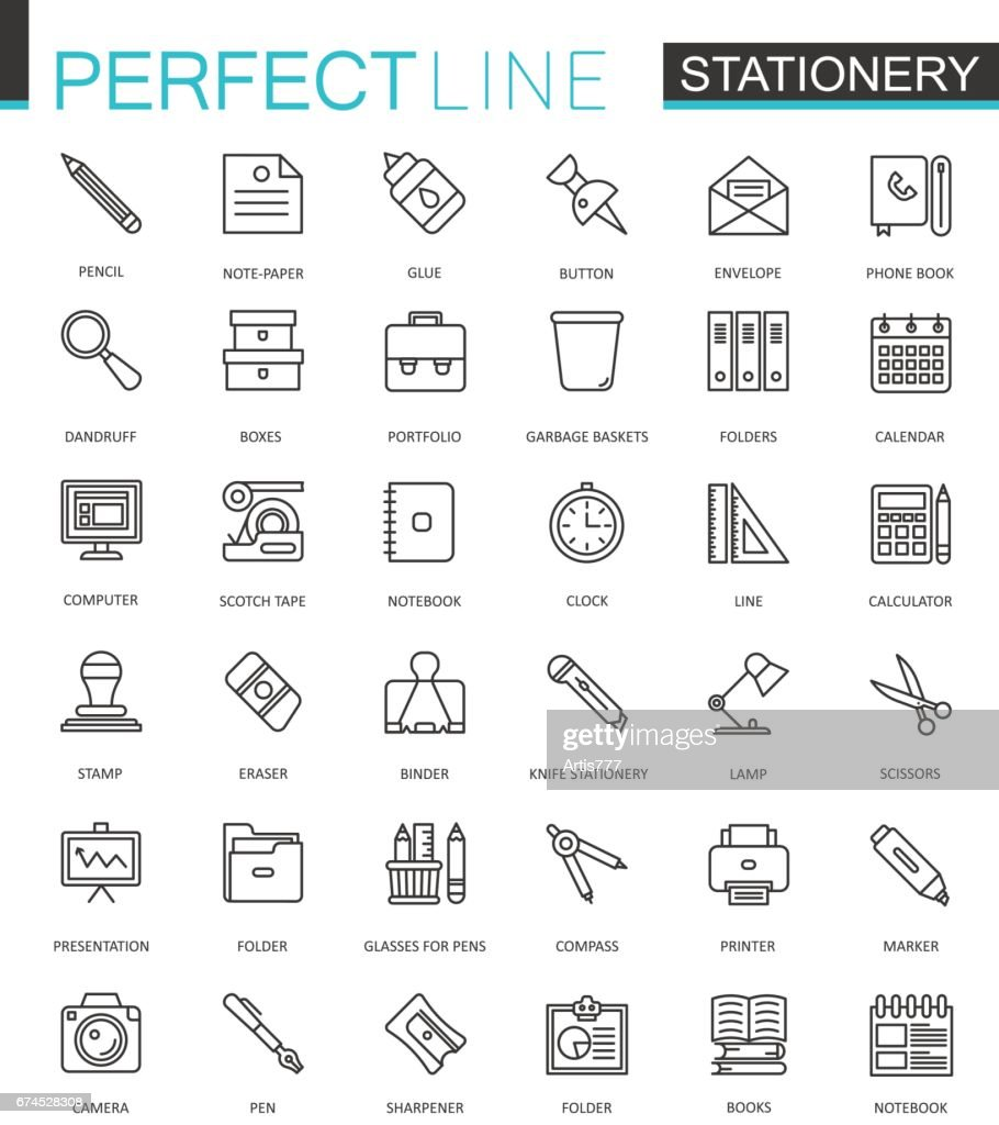 Office stationery thin line web icons set. Outline icon design.