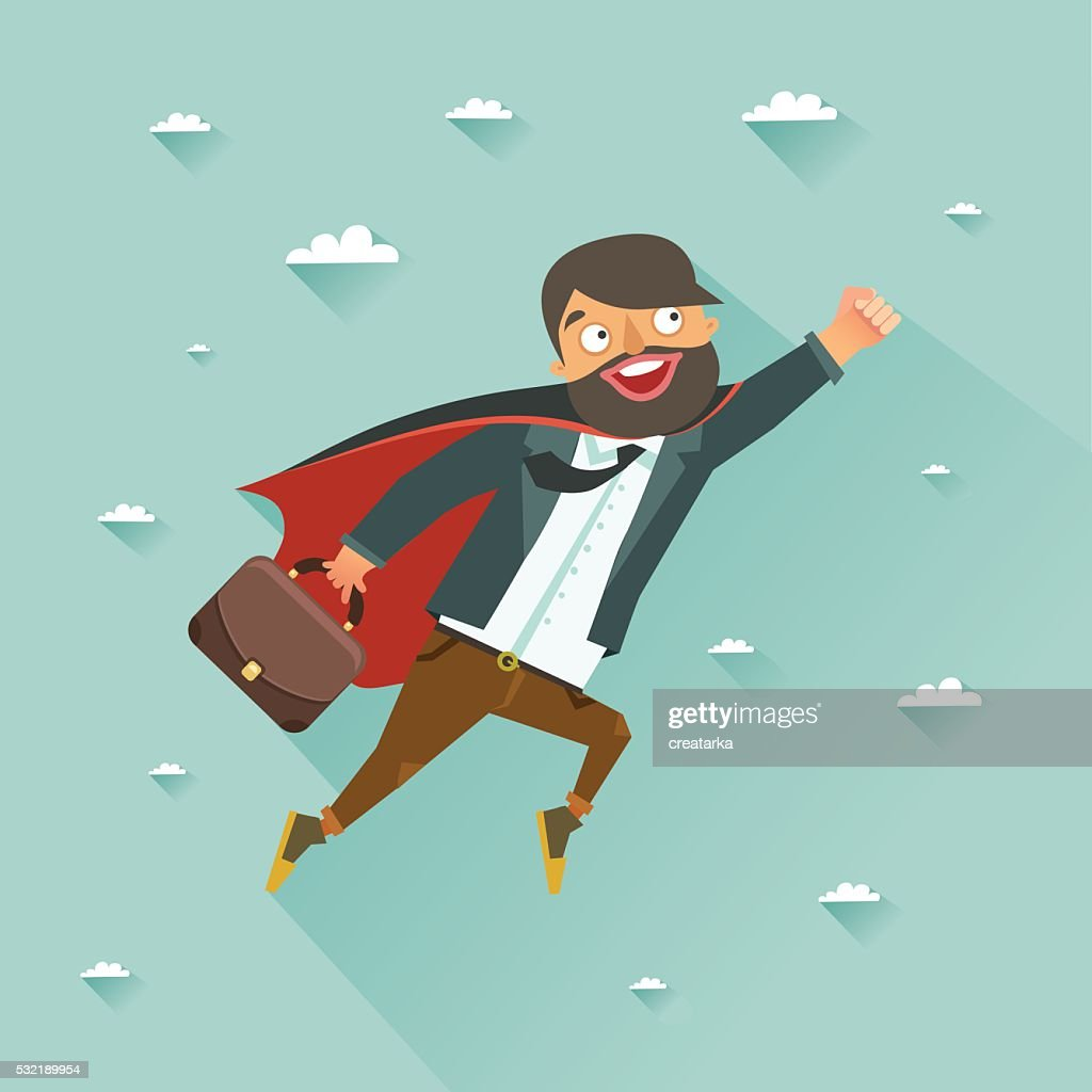Office super heroes flying to achieve his goal