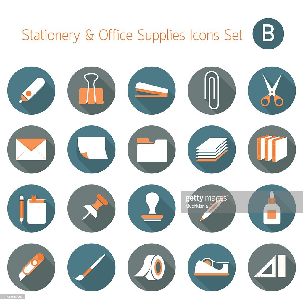 Office Supplies and Stationery Objects Flat Icons Set B
