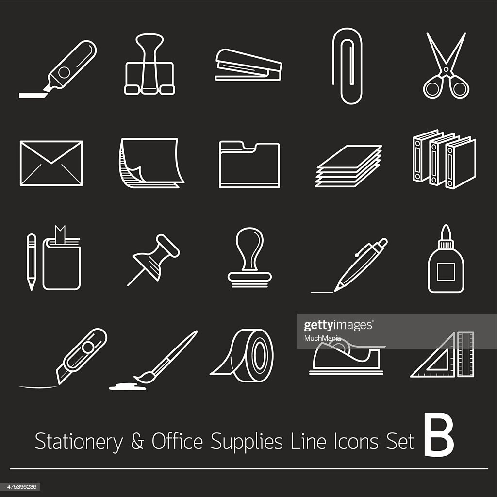 Office Supplies and Stationery Objects Linear Icons Set B