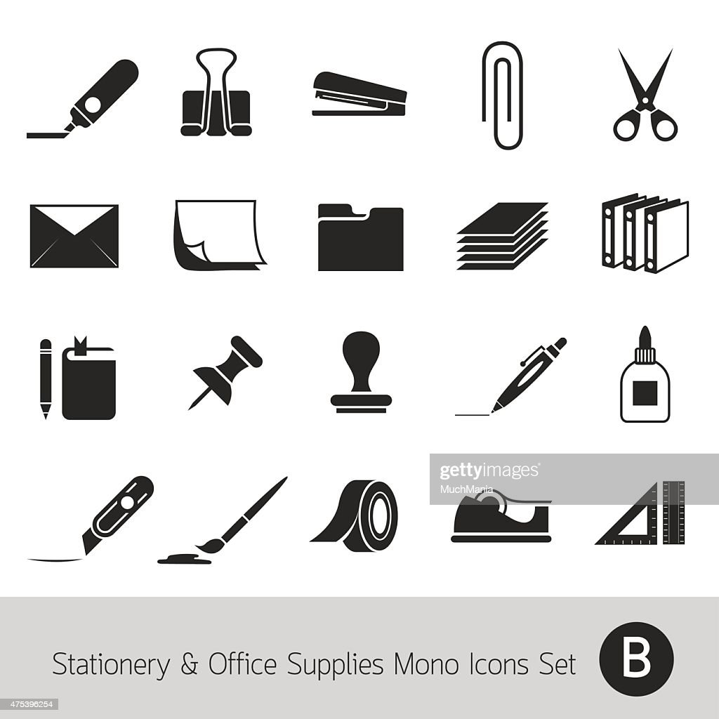 Office Supplies and Stationery Objects Mono Icons Set B