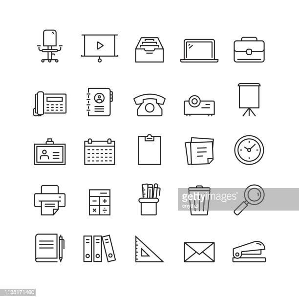 office supplies and stationery related vector line icons - archival stock illustrations