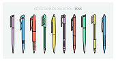 Office supplies collection. Pens set. Writing tools. Outline style. Ballpoint thin line vector icons. Biro, Fountain pen, gel pen, ballpoint pen, capillary pen. Back to school. Writing materials