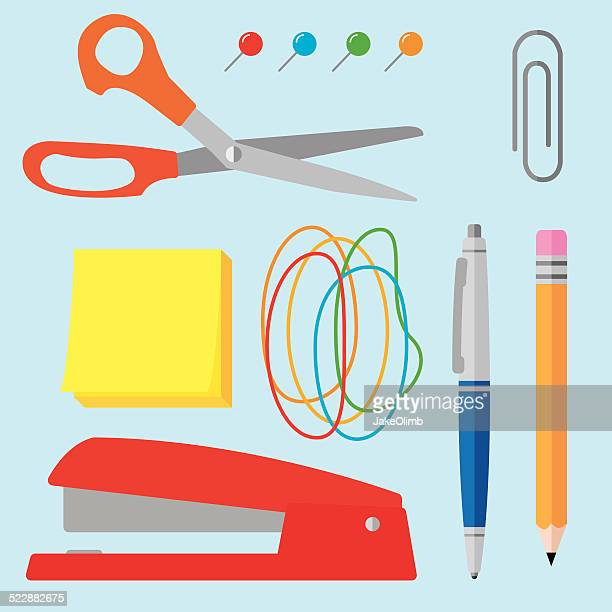 office supplies flat 1 - paper clip stock illustrations, clip art, cartoons, & icons