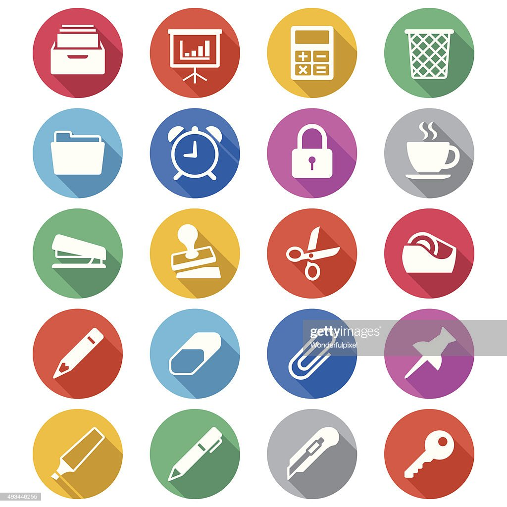 Office supplies flat color icons