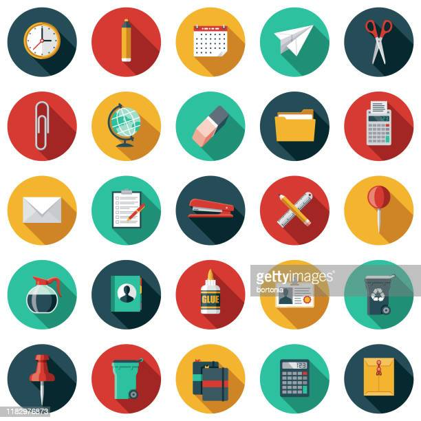 office supplies icon set - long shadow design stock illustrations