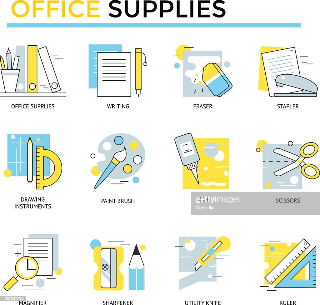 Office supplies icons.