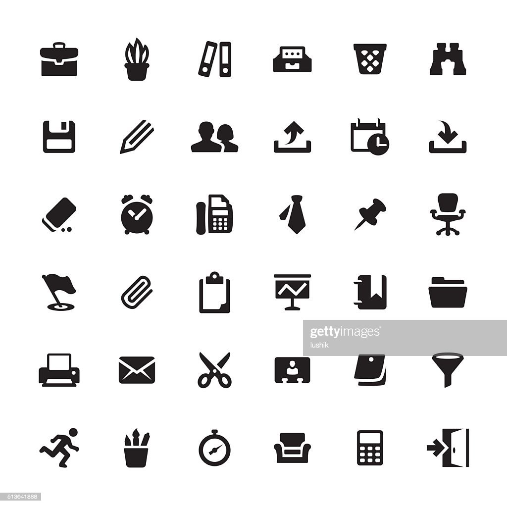 Office Supply and Paperwork vector symbols and icons : stock illustration