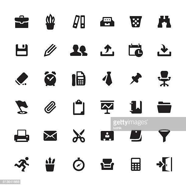 office supply and paperwork vector symbols and icons - paper clip stock illustrations, clip art, cartoons, & icons