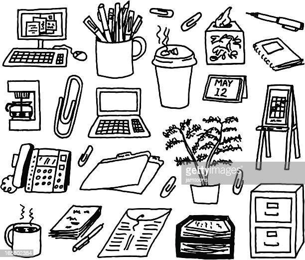 office supply doodles - ballpoint pen stock illustrations, clip art, cartoons, & icons