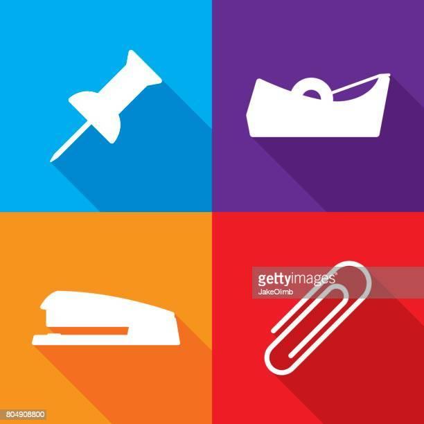 ilustrações, clipart, desenhos animados e ícones de suprimentos de escritório conjunto de ícones - clipe de papel