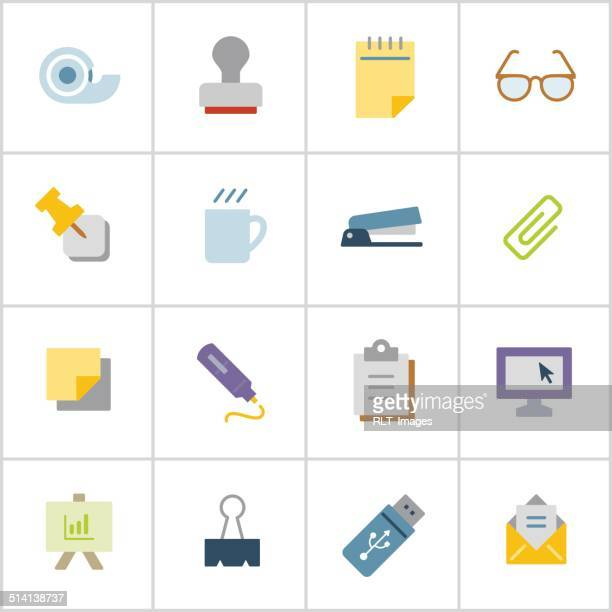 office supply icons 1 — poly series - post it stock illustrations, clip art, cartoons, & icons