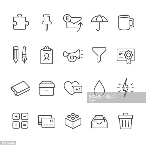 office supply vector icons - bloco stock illustrations