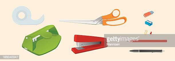 ilustraciones, imágenes clip art, dibujos animados e iconos de stock de suministros de oficina de vector - fajo de billetes
