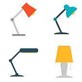 Office table lamp icon. Flat illustration of office table lamp isolated on white background