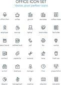 Office theme line icon set.