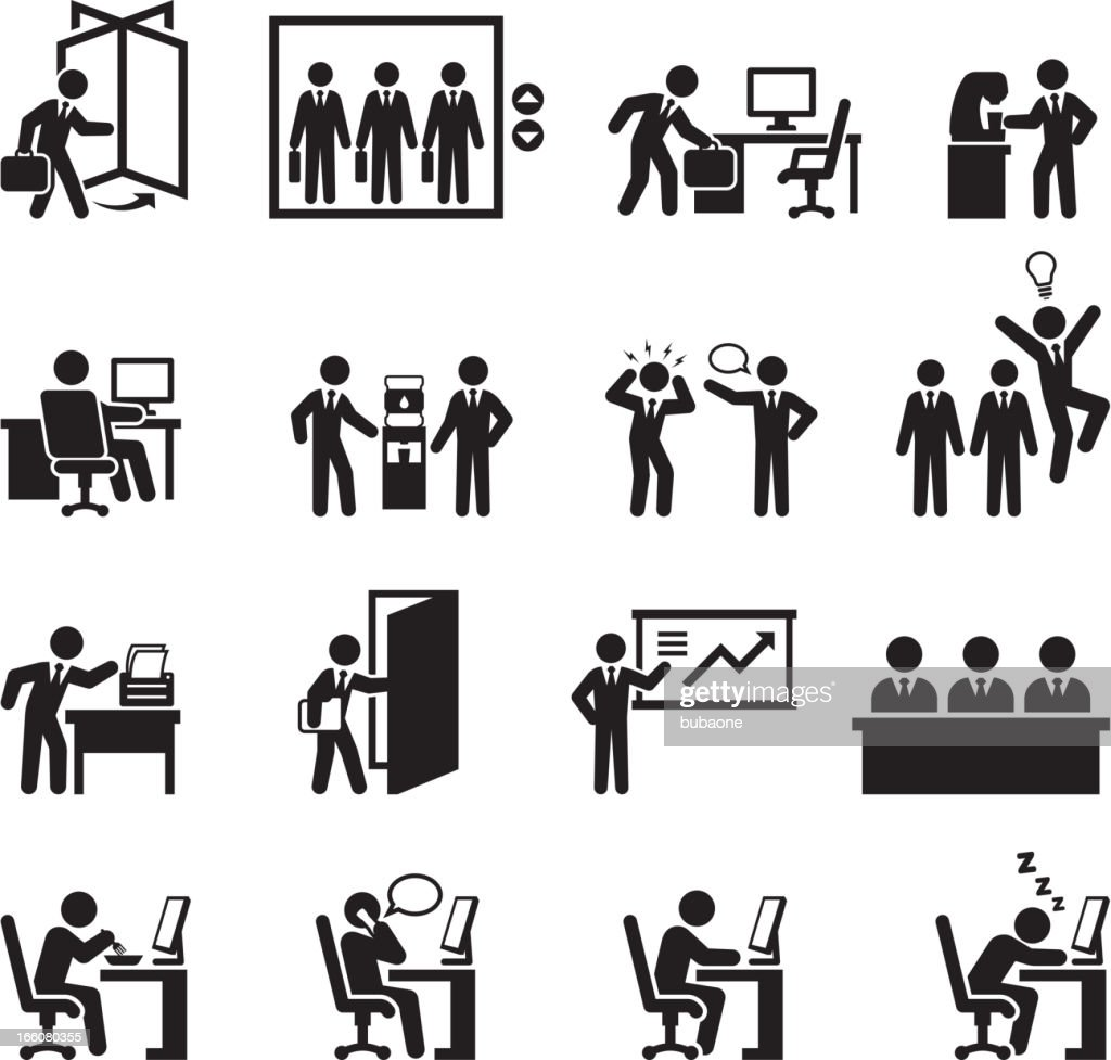 Office themed black and white illustration set : stock illustration