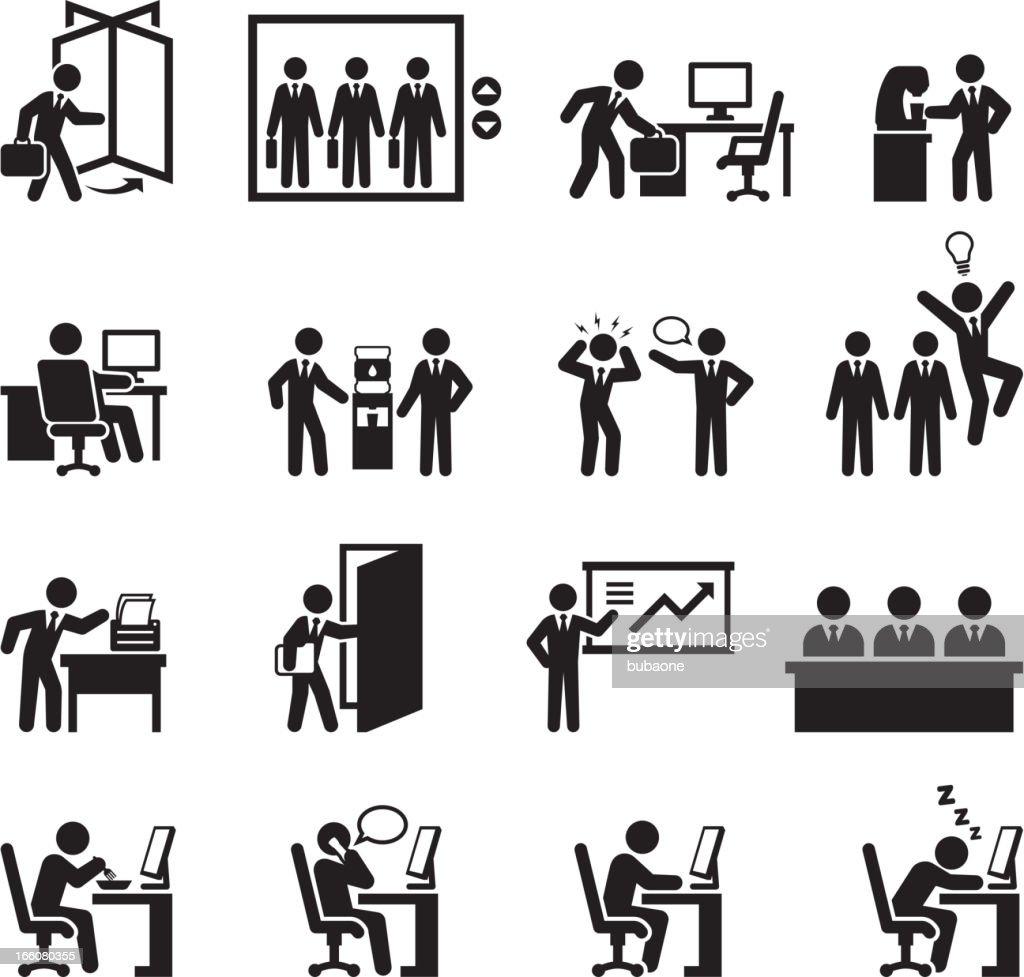 Office themed black and white illustration set