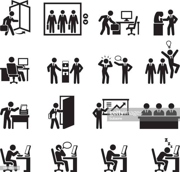 Office themed black and white illustration set