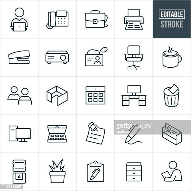 office thin line icons - bearbeitbarer strich - stift stock-grafiken, -clipart, -cartoons und -symbole