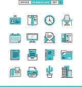 Office things, plain and line icons set, flat design