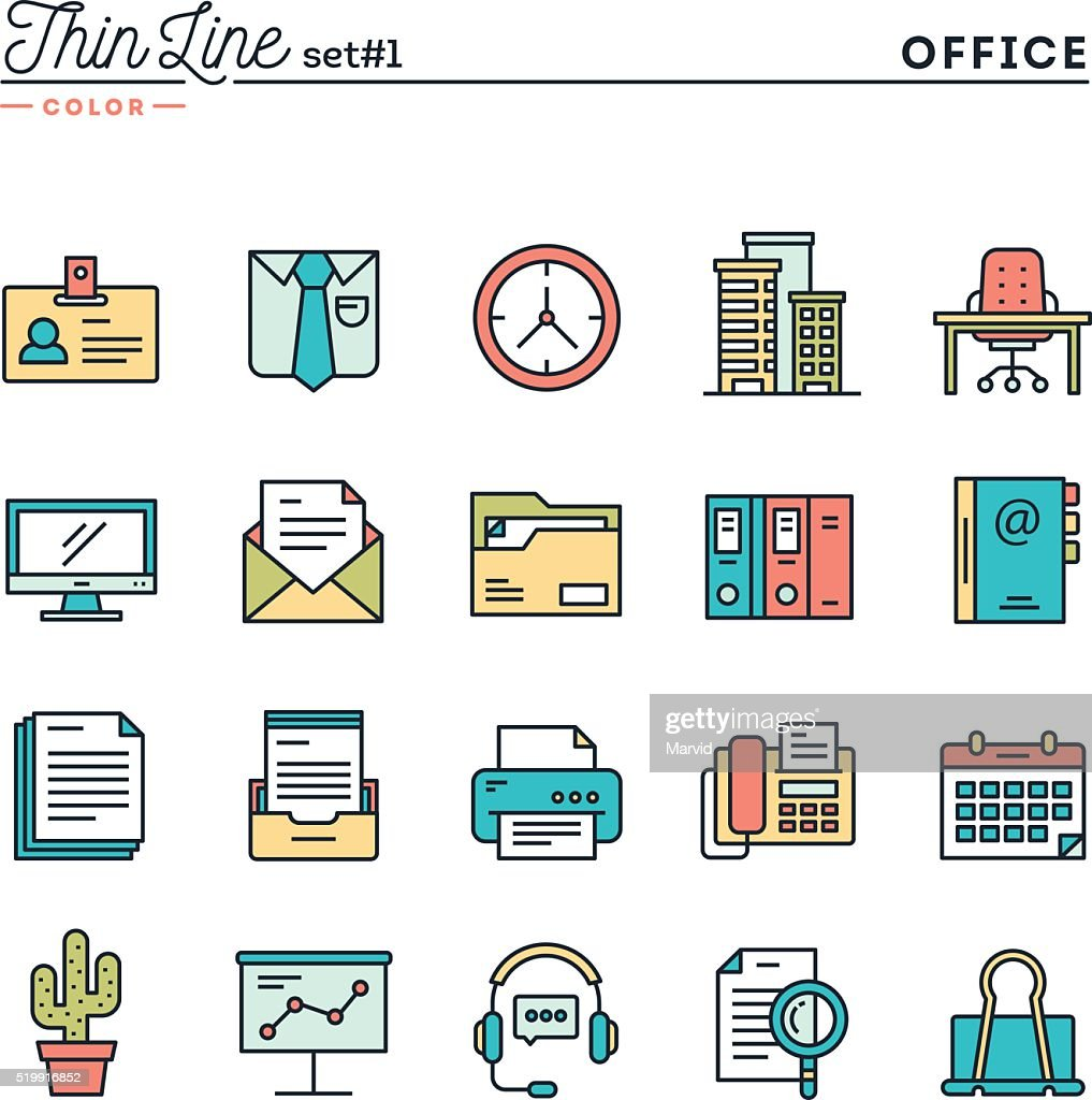 Office things, thin line color icons set