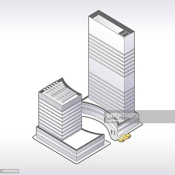 office tower illustration - mathisworks stock illustrations